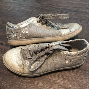 Justice Silver Glitter Sneakers Size 13